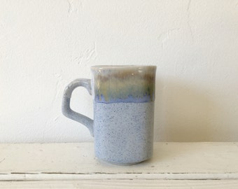 Vintage Studio Pottery Stoneware Drip Glaze Mug / Pale Blue / Splatter Earthenware