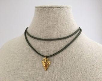 Green suede choker w/ gold arrow