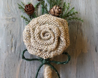 Rustic Boutonniere Groom Boutonniere Groomsman Boutonniere Burlap Boutonniere Mens Wedding Boutonniere  Weddings Accessories  Boutonnieres
