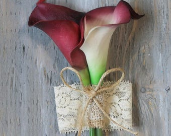 Wrist Corsage Burgundy Calla Lily Corsage  Bridal Accessories  Weddings Burgundy Calla Lilies Corsage Wedding Corsage Bridal Corsage