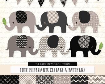 Patterned Black Elephants Clipart and Digital Papers - black Elephant Clipart, Elephant Vectors, Baby Elephants, Cute Elephants