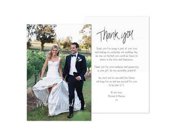 Wedding Thank You Cards PDF Card Template Weddings Photo Printable