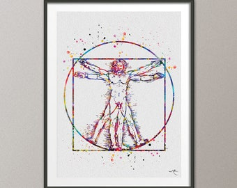 Vitruvian Man Leonardo Da Vinci Watercolor Print Wedding Gift idea Giclee Wall Decor Geek Art Home Decor Wall Hanging Fine Art [NO 513]