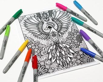 Mandala coloring, drawing #0593 printed on cardboard, coloring of relaxation, Phoenix, Firebird