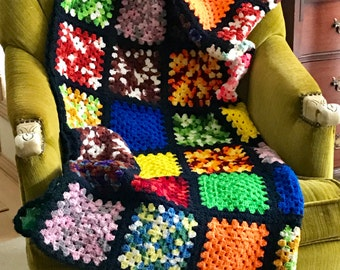 Colorful Black Crochet Wool Afghan, Granny Square Pattern