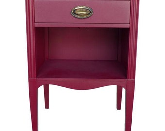SALE! Heritage Hernedon Mahogany  Nightstand Newly Painted in Red Excellent!