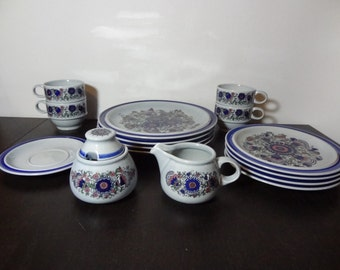 Vintage Goebel Cabana Mazurka Dinnerware Set - 4 Place Settings and Cream and Sugar Set - Set of 18 Pieces - Made in West Germany