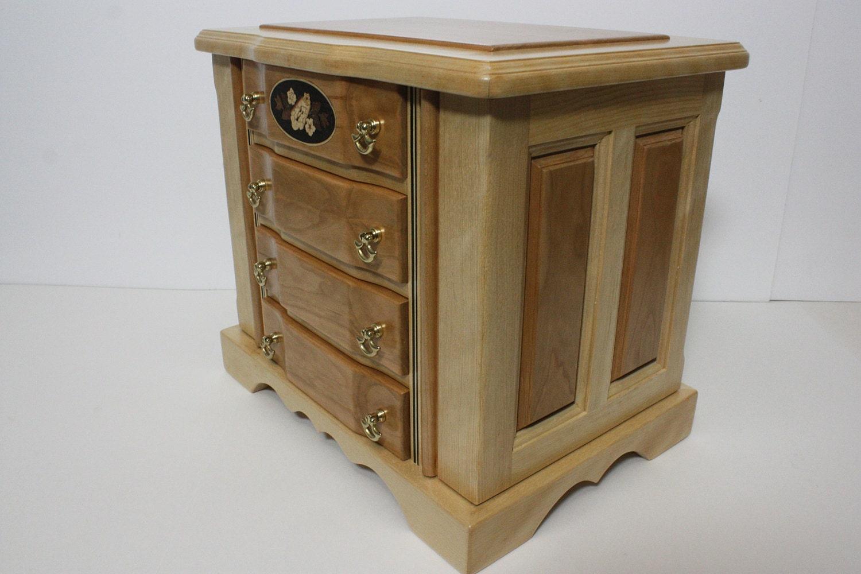 Handmade Cherry Wood Jewelry Box For Sale
