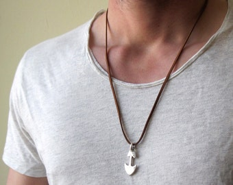 Mens Silver Arrow Necklace  , Mens Leather Necklace , Men Arrow Pendant , Mens Silver Necklace , Mens Necklace , Arrow Jewelry