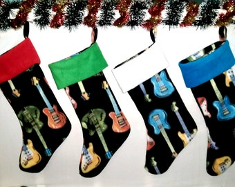 Guitar Print Christmas Holiday Stocking