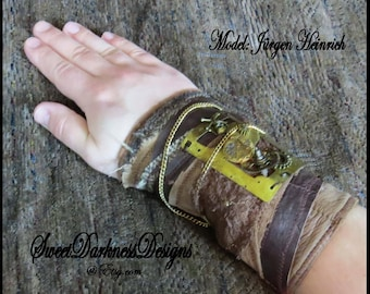 SteamPunk Cuff - Industrial Wrist Cuff - Post Apocalyptic Cuff Leather Brass gears CLOCK PLATE Apocalypse Fashion by SweetDarknessDesigns