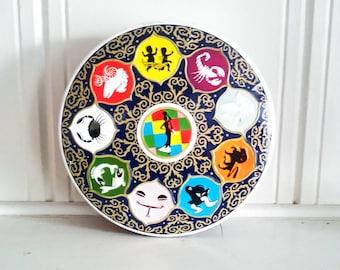 Vintage Zodiac Wheel Of Fortune Tin / Storage Round Tin / Birthday / Zodiac  Signs /
