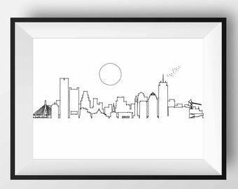 Boston Skyline, Boston art, Boston print, Boston poster, Boston, Boston gift, Boston artwork, Boston Massachusetts, Boston Illustration