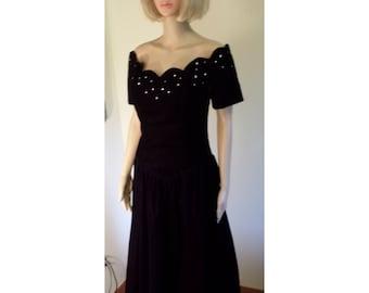 Vintage 80's Black Velvet Party/Holiday Dress Rhinestone Studded Scalloped Off Shoulder Neckline/Drop Waist by Positively  Ellyn Size 12