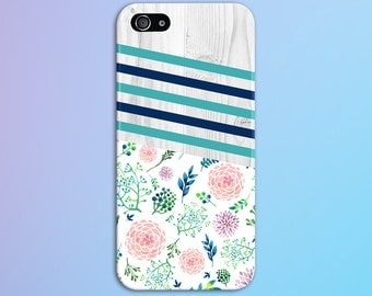 Geometric Teal x Navy Striped Winter Flowers Case, iPhone 7, iPhone 7 Plus, Protective iPhone Case, Galaxy s8, Samsung CASE ESCAPE