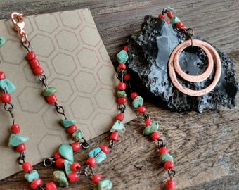 Hammered and Beaded Copper Necklace