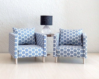 A Set (2)  1:6 Scale Chairs Polka Dots, Doll Furniture