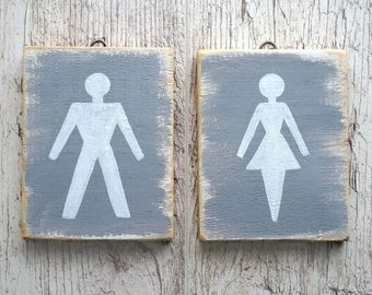 Toilet signs for restroom ladies and gentlemen male and female bathroom signs Reclaimed wood Primitive decor