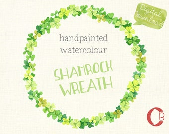 Watercolor clipart, Irish shamrock weath, printable, scrapbooking, invites,