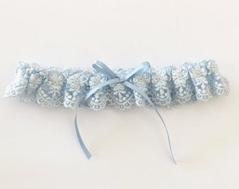 Blue wedding garter, something blue bridal garter, blue lace garter, keepsake garter, toss garter, single garter