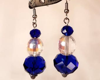 Royal Blue Faceted Glass Crystal Earrings, cobalt blue fishook french hook hypo allergenic earrings gift for her handmade jewellery