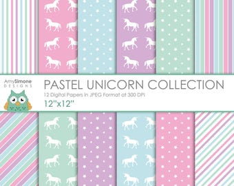 "Pastel Unicorn 12""x12"" Digital Papers"