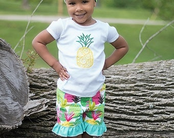 Girls Pineapple Outfit, Girls Summer Outfit, Pineapple Ruffle Shorts, Pineapple Embroidered Top