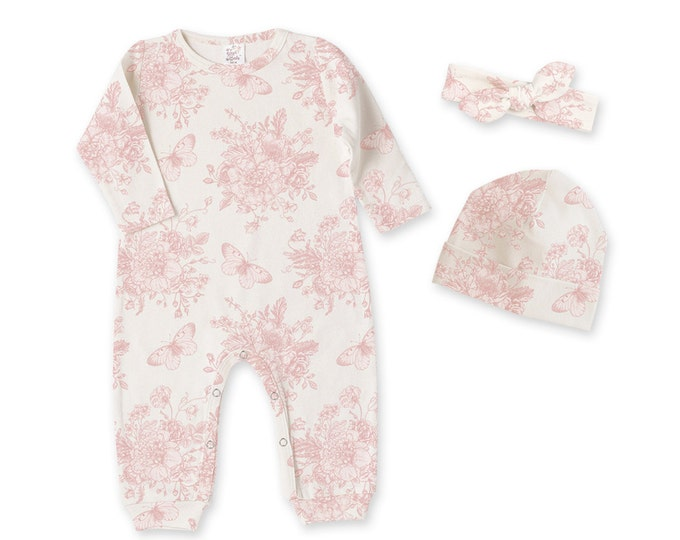 Newborn Girl Coming Home Outfit, Newborn Girl Outfit, Baby Girl Take Home Romper, Baby Girl Headband, Baby Girl Pink Floral Romper, Tesababe