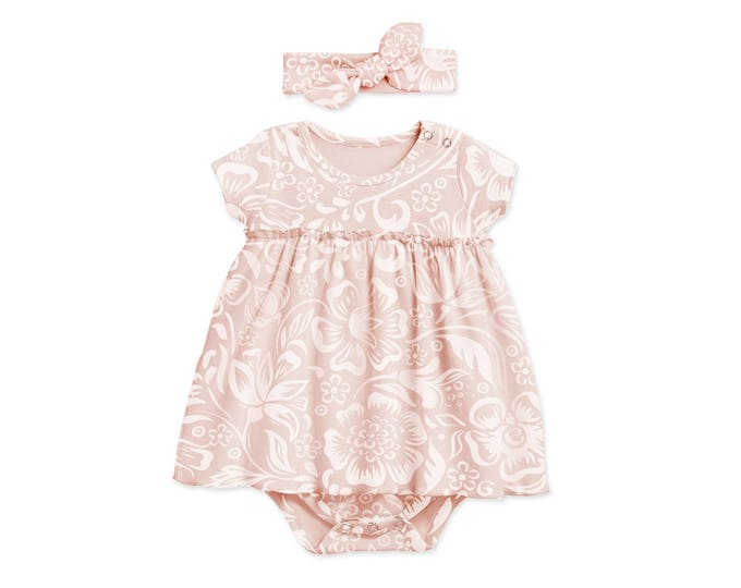 Pink Baby Girl Dress, Newborn Girl Coming Home Outfit, Baby Flowered Skirted Bodysuit, Pink Floral Bodysuit Headband, TesaBabe BH58SFQ000000