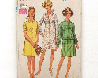 Vintage 1969 Simplicity Shirt-Dress Sewing Pattern #8084 - Size 12 (Bust 34)