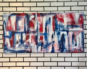 Red white blue, paint on canvas with acrylic. Modern work. 2017