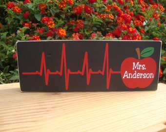 Personalized Teacher Block- Teacher Gift, Classroom gift, Teacher apple block, Teacher wood block, Teacher name plate, Heartbeat Sign