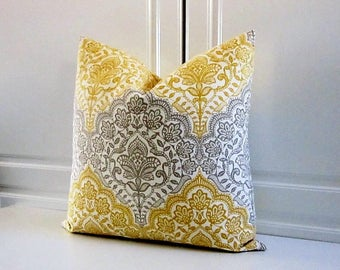 Pillow Cover-Golden Yellow & Grey Medallion-Last One!  16x16