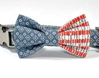 Vintage Patriotic Dog Collar Bow Tie set with metal hybrid hardware, American Flag, pet bow tie, collar bow tie, wedding bow tie,
