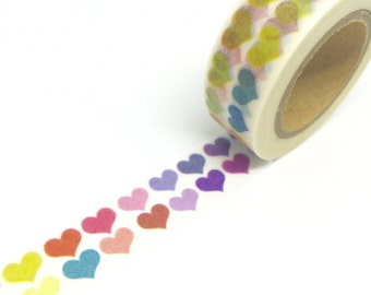 Rainbow Hearts Washi Tape 15mm x 10m