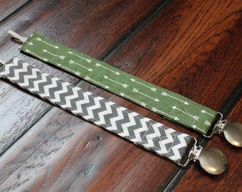 Set of 2 Baby Boy Pacifier Clips, Green and White Arrows, Grey and White Chevron