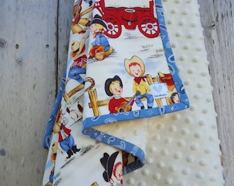 Western baby blanket-cotton baby blanket-shower gift-cowboy nursery-dimple dot minky- western nursery-cowboys on the Range-baby boy blanket