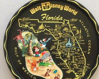 WALT DISNEY World Orlando Florida Black Metal Travel Souvenir Tray