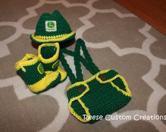 Crochet John Deere Newborn inspired colors Photo Prop Outfit- John Deere Baby Outfit. 3 Week Lead Time