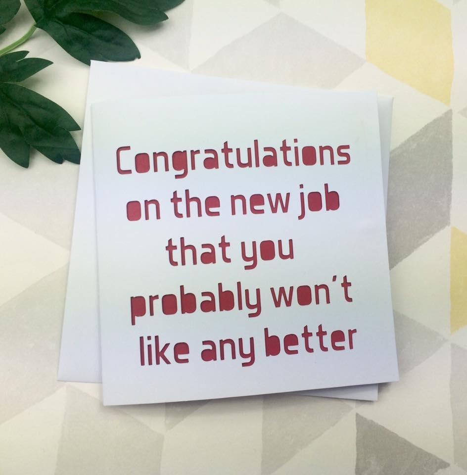 new job card funny card leaving card good luck card card