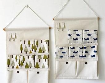 7 Pocket Hanging Organiser- canvas organiser, wall organiser