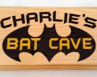 Personalised Bat Cave Plaque / Sign / Gift - Bedroom Door Superhero Son