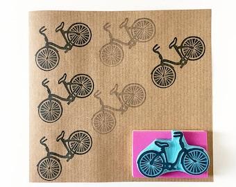 Bicycle rubber stamp, vintage bike, hand carved stamp, vintage bicycle lover gift, bicycle decor idea