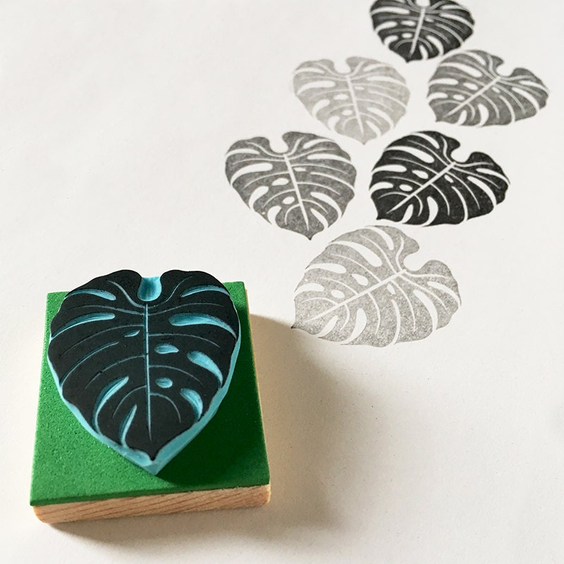 Tropical leaf stamp monstera rubber hand carved