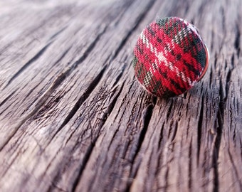 Preppy tartan plaid Tie Tack - accessories for men - red plaid - lapel scatter pin