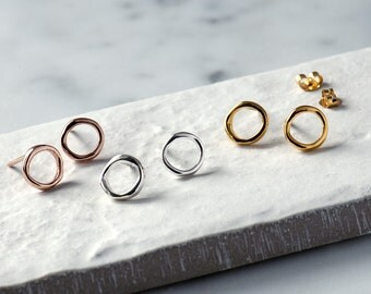 Infinity Circle Stud Earrings, Minimalist Silver Studs, Karma Circle Earrings, Circle Stud Earrings, Dainty Earrings, Contemporary Studs