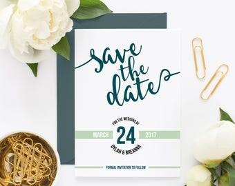 Save the Date ~ Green ~ Blue ~ Modern ~ Handwritten ~ Matching Set ~ Wedding