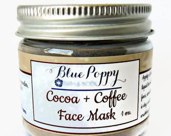 Cocoa Coffee Face Mask, Dry Mask, Cleansing Facial, Clay Mask, Mask with Bentonite Clay