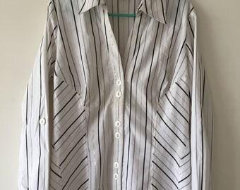 Stylish Vintage Top,Semi Formal Shirt,White Silver Black Stripe,UK 14,Collared Shirt, Puff Sleeved Shirt,Smart Shirt,Office Wear,Work Wear