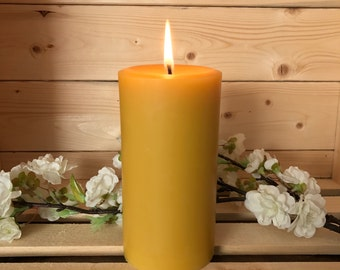 Beeswax PIllar Candle, Handpoured All Natural Unscented Pure Organic Beeswax 6 x 3 Pillar Candle